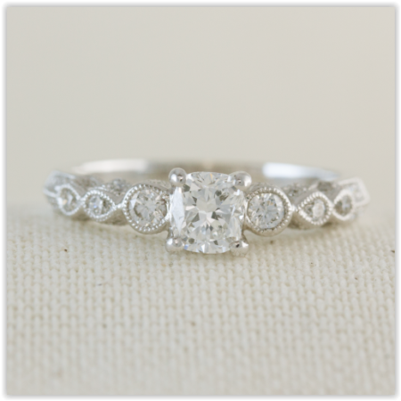 diamond set band, solitaire engagement ring