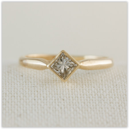 yellow gold diamond shape solitaire