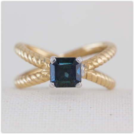 crossover band sapphire solitaire