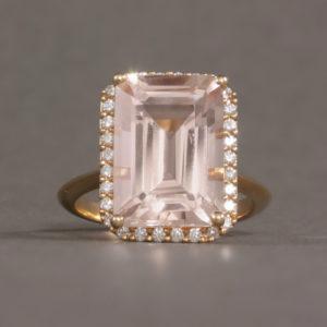 Morganite & Diamond Halo