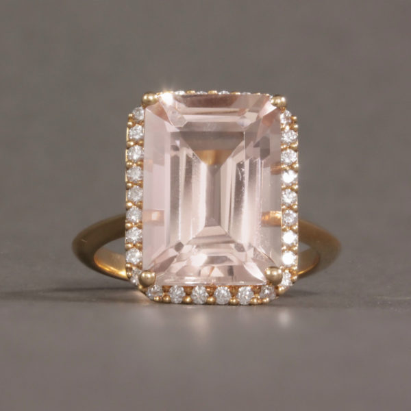 Morganite & Diamond Halo