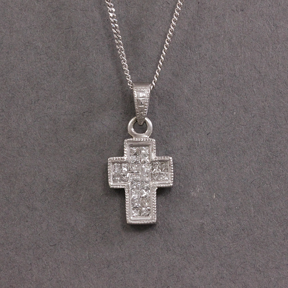diamond set cross necklace