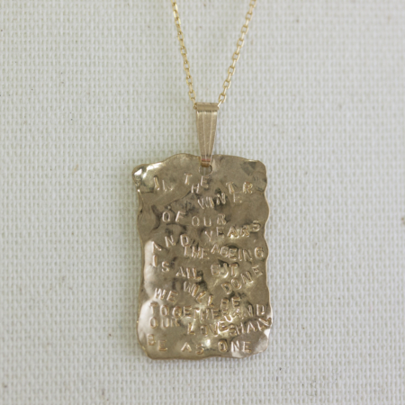 Forever Poem solid gold pendant