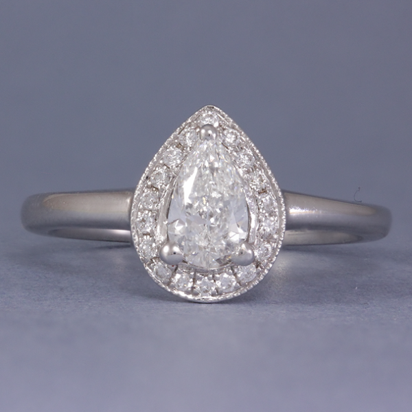 Pear Shaped Diamond Halo Engagement Ring