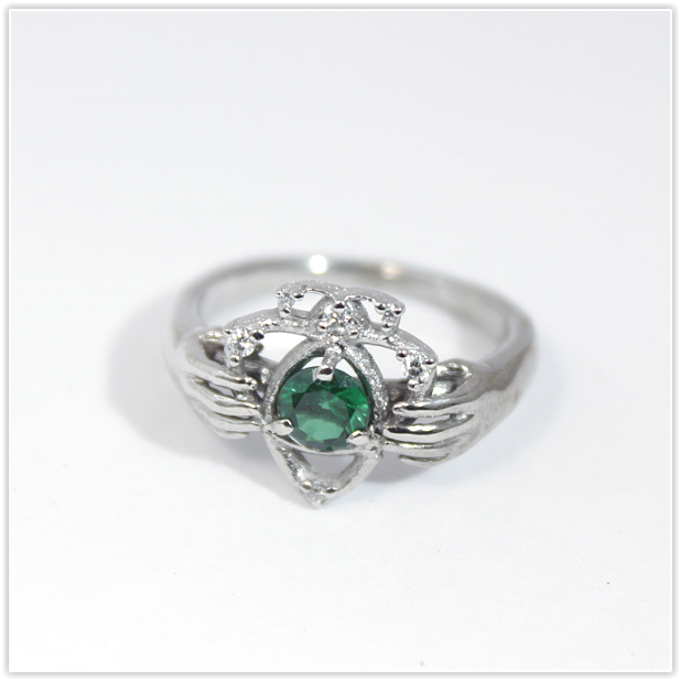 White Gold Claddagh Ring With Emerald Handmade In Ireland