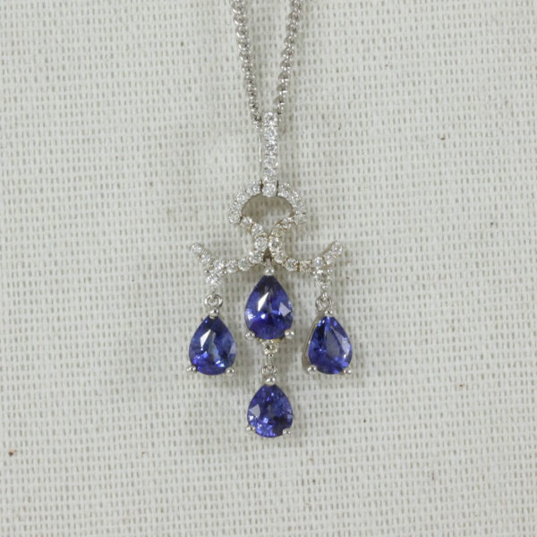sapphire and diamond chandelier necklace