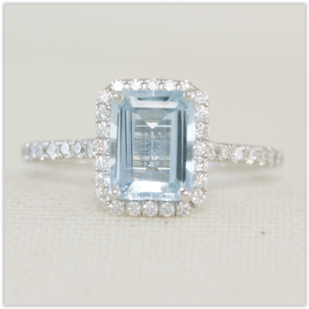 aquamarine with Diamond halo ring