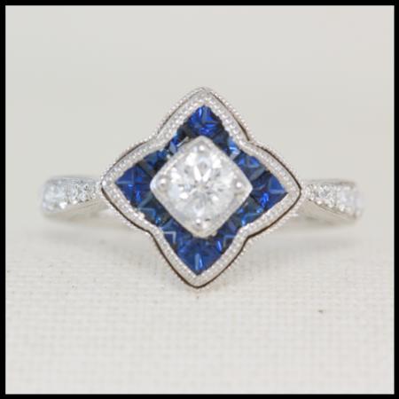 sapphire and diamond flower shape ring