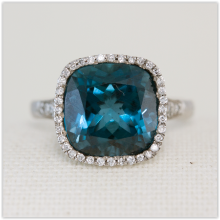 topaz with diamond halo