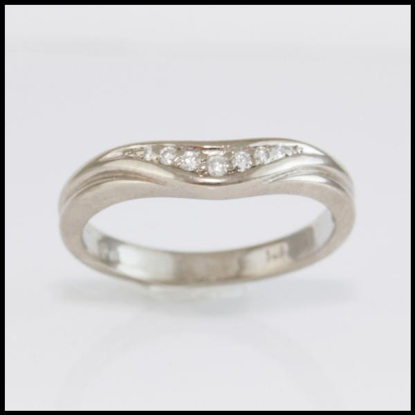 Custom Wedding Bands.Diamond Set Curved Wedding Band