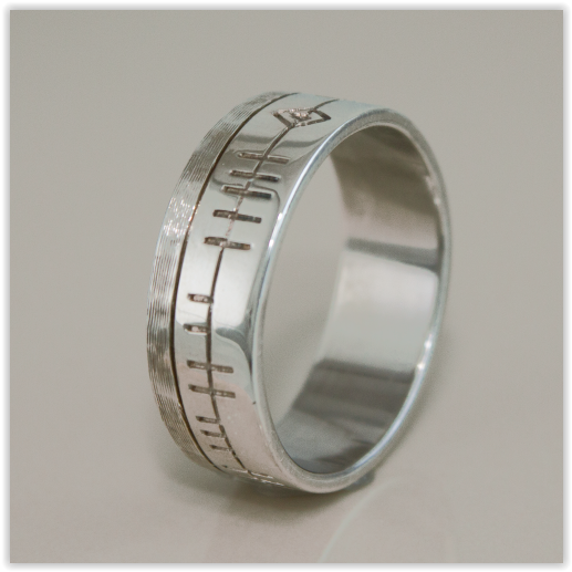 gold titanium and design contemporary ogham eva jewellery wedding white goldsmith handmade dorney rings