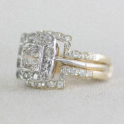 double fitted wedding band with engagement ring