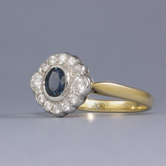 antique style sapphire & diamond ring