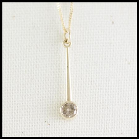 Gold minimalist necklace set with chocolate diamond