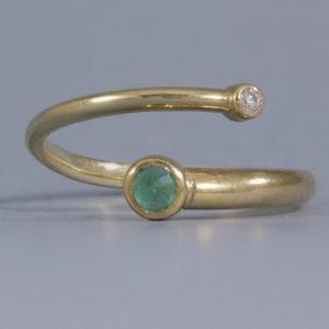 Emerald & Diamond crossover ring