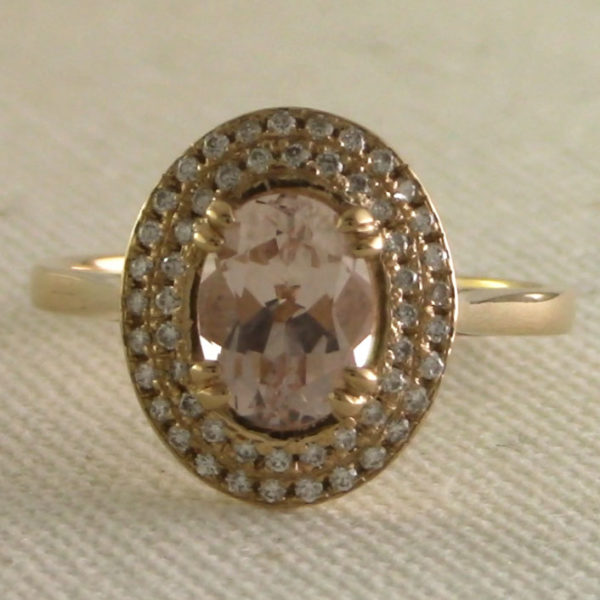 morganite and diamond halo