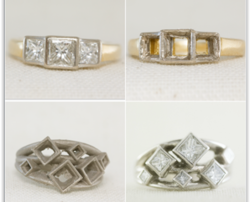 Original ring with diamonds, and after diamonds have been removed. New ring cast, and finished product