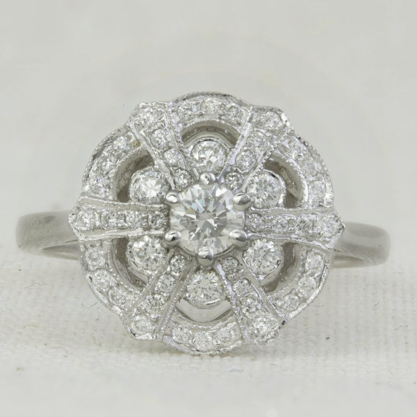 art deco inspired antique style engagement ring