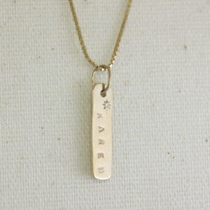 diamond set name plate necklace