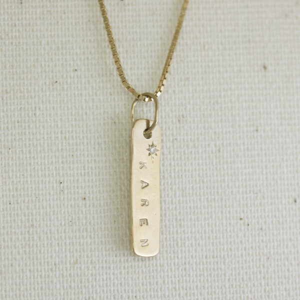 diamond set name plate necklace