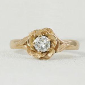 Diamond Rose Shaped unique engagement ring