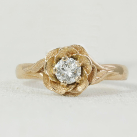 Diamond Rose Shaped Ring