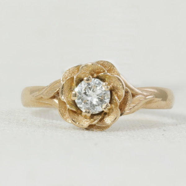 Diamond Rose Shaped unique engagement ring