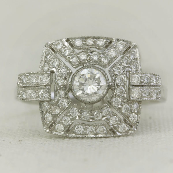 Square Antique style engagement ring