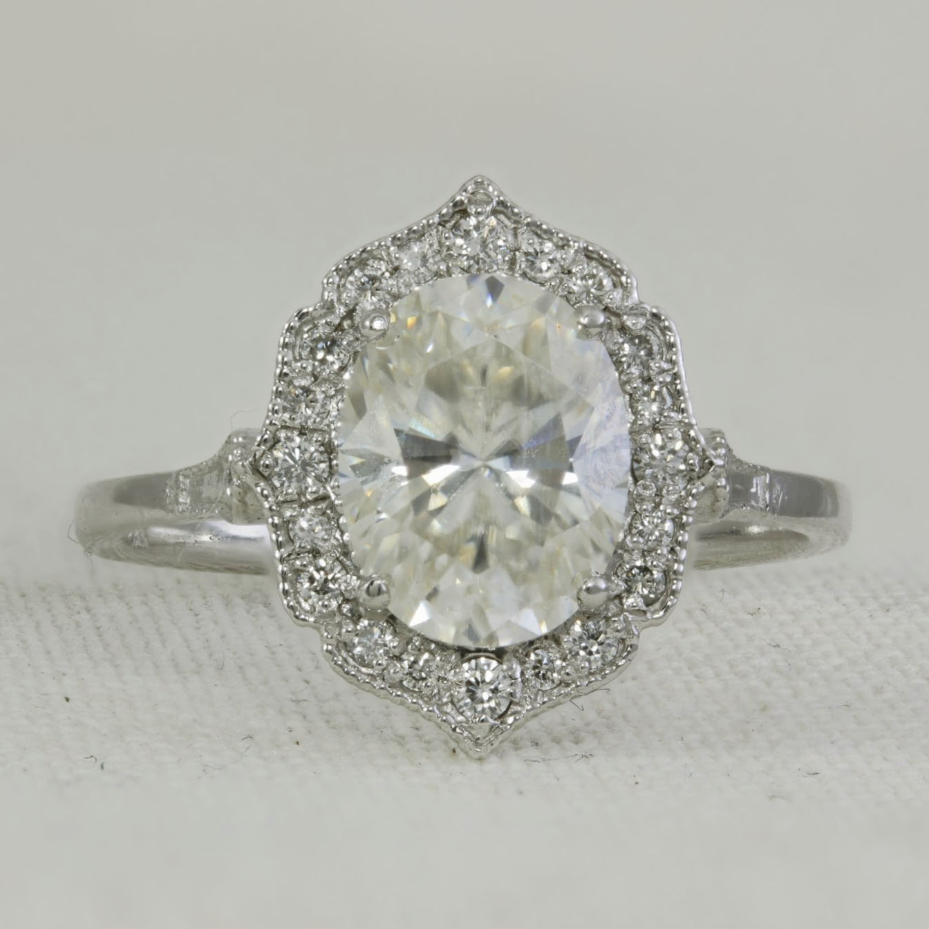 Moissanite Amp Diamond Antique Style Ring Engagement Ring