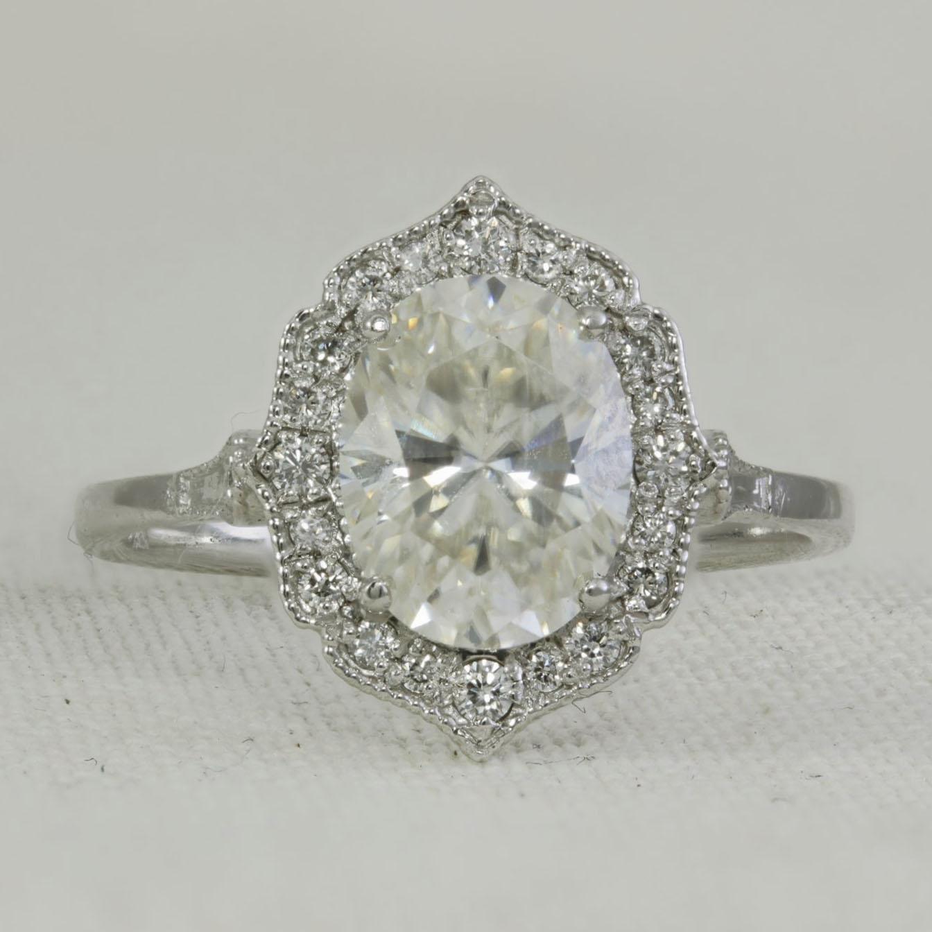 Moissanite Diamond Antique Style Ring