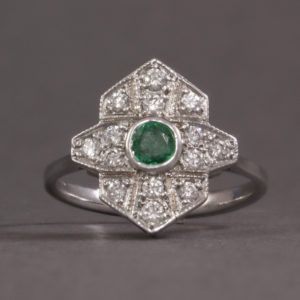 Diamond and Emerald Antique Style Ring