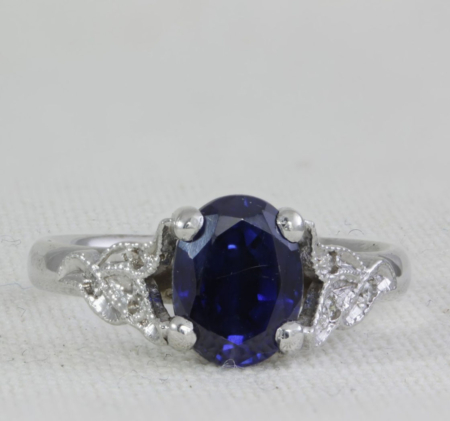 leaf effect sapphire ring