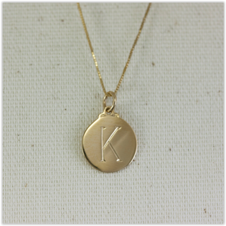 Solid Gold Initial Engraved Necklace