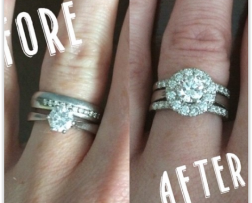 Added halo to engagement ring and made two new half set wedding and eternity rings