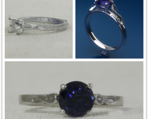 sapphire solitaire with infinity shoulders.