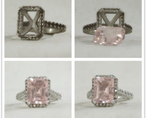 Custom made diamond and morganite halo ring