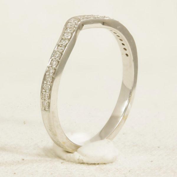 Diamond set wishbone ring