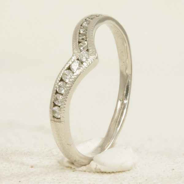 Diamond set wishbone ring