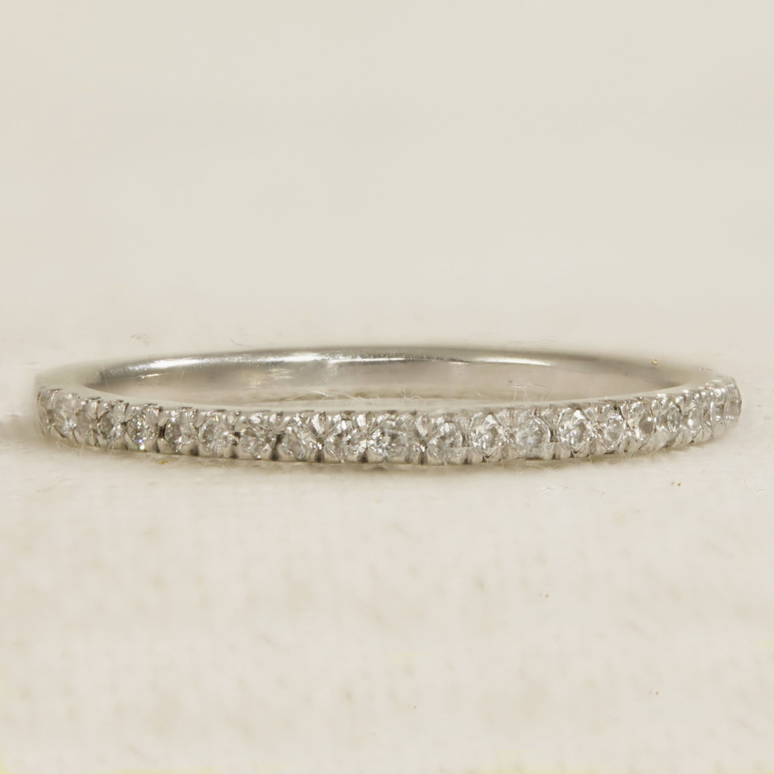 Half set 18k white gold straight ring