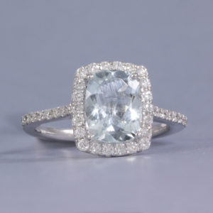 diamond & Aquamarine halo