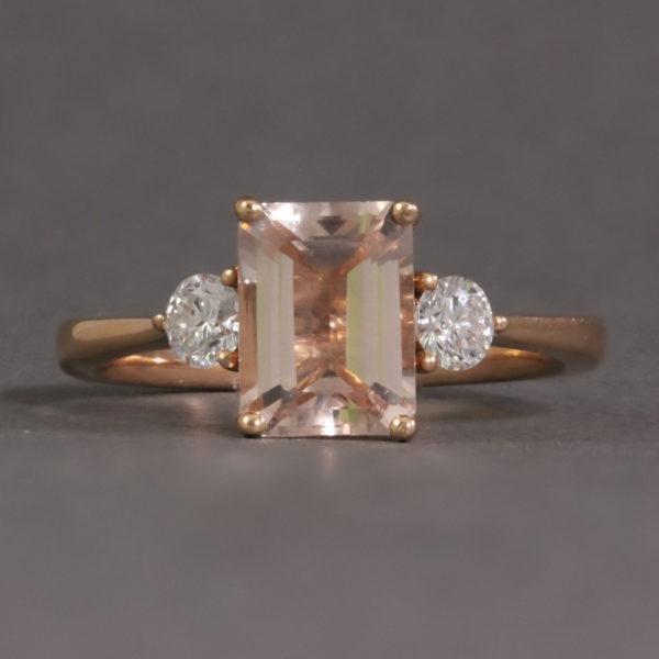 Morganite & Diamond Rose Gold Ring