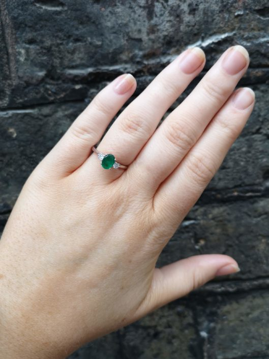 Wearing Emerald and diamond ring