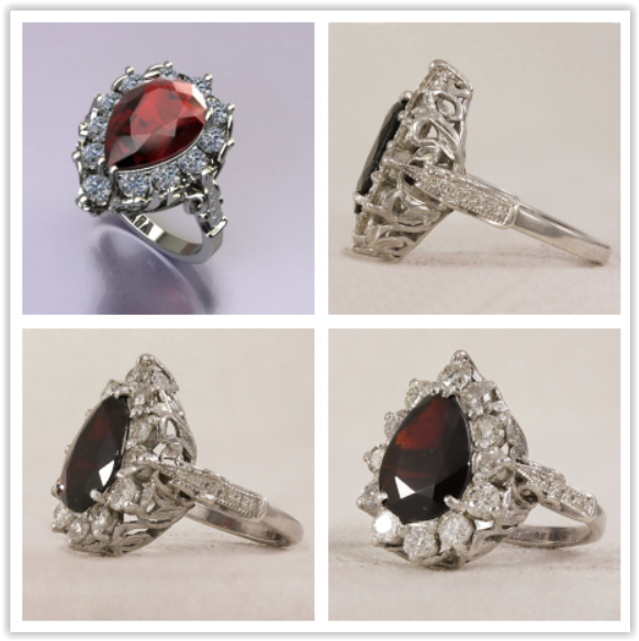 Garnet Centre taken from original ring, new mount was made and diamonds accents added around the garnet.