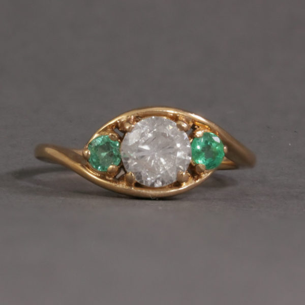 Frosted effect salt and pepper diamond and emerald ring