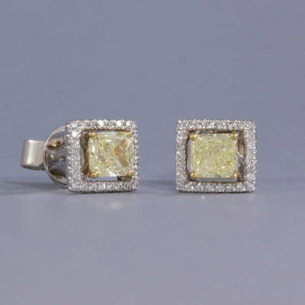 yellow diamond halo studs