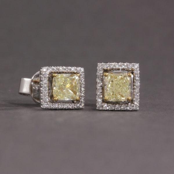 yellow diamond halo studs