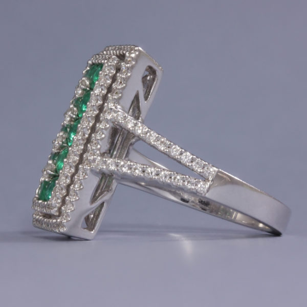 Emerald and diamond antique style ring