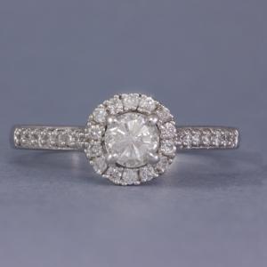 9k gold diamond halo engagement ring