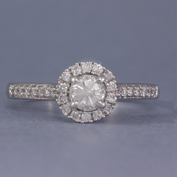 9k gold diamond halo engagement ring