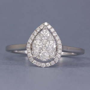 pear shaped cluster engagement ring